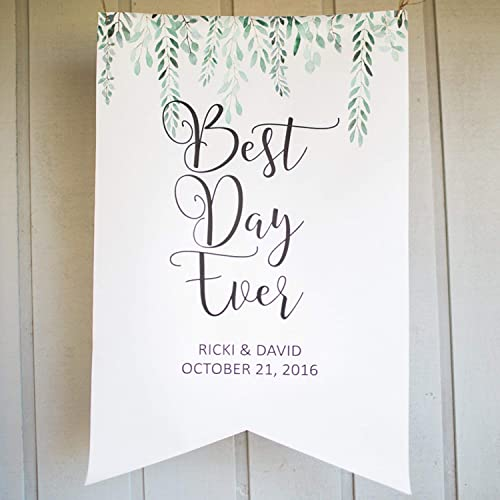 Amazon Com Personalized Wedding Sign Backdrop For Ceremony Or Reception Decor Name Hanging Canvas Banner Welcome Sign Wedding Best Day Ever Handmade