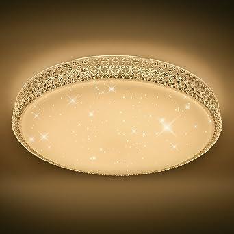 VINGOR Starlight Effekt Design 60W LED Deckenleuchte Sternen Mit Kristall Rahmen Warmweiss 2700 3000K