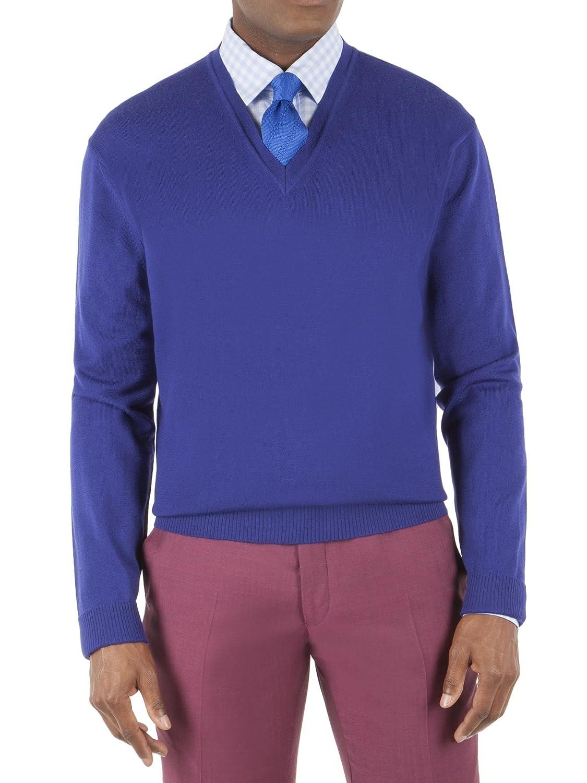 Suit Direct Gibson London Cobalt Blue Merino V Neck Sweater - G161100KV Tailored Fit Knitwear