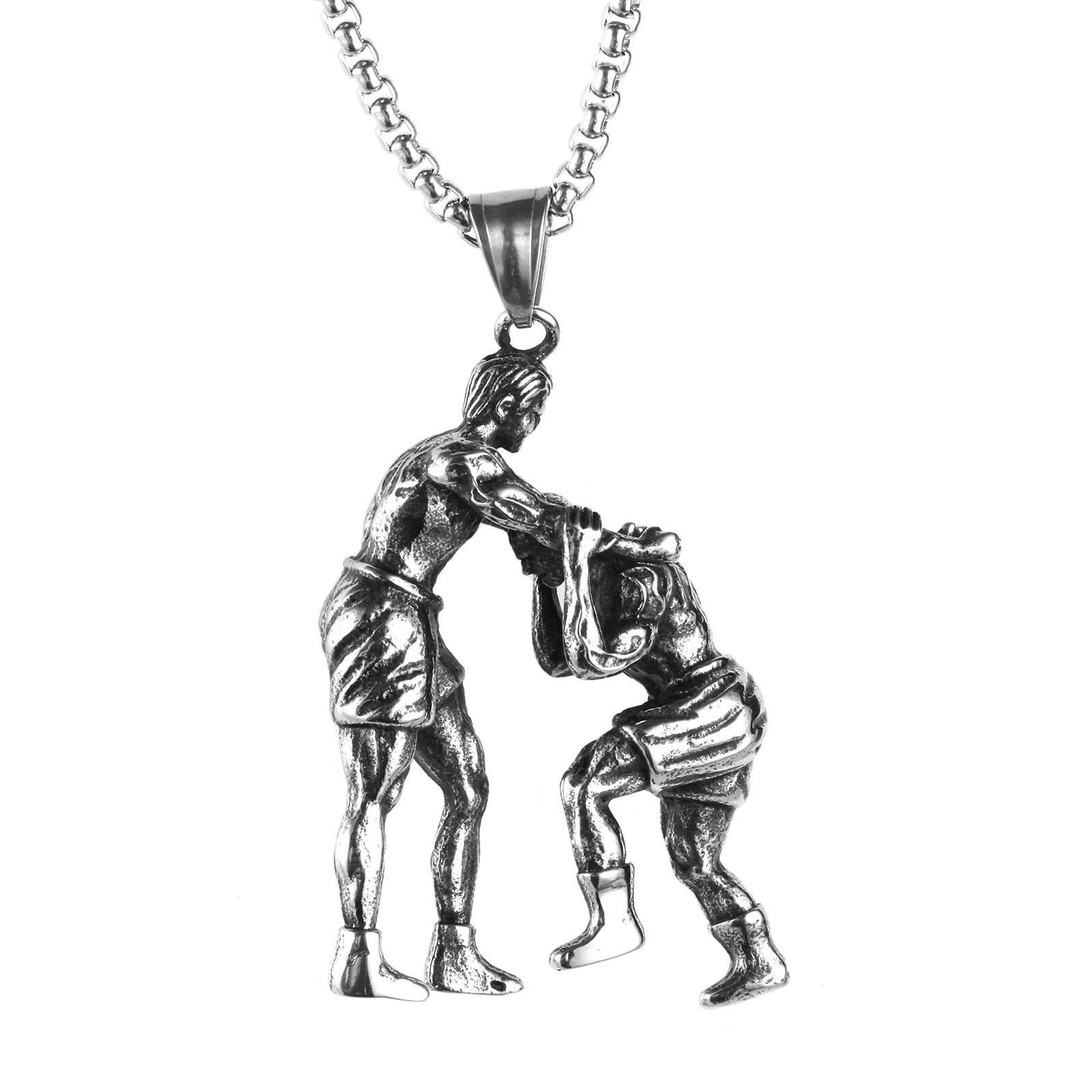 PAMTIER Men's Stainless Steel Sports Necklace Wrestling Pendant With Chain