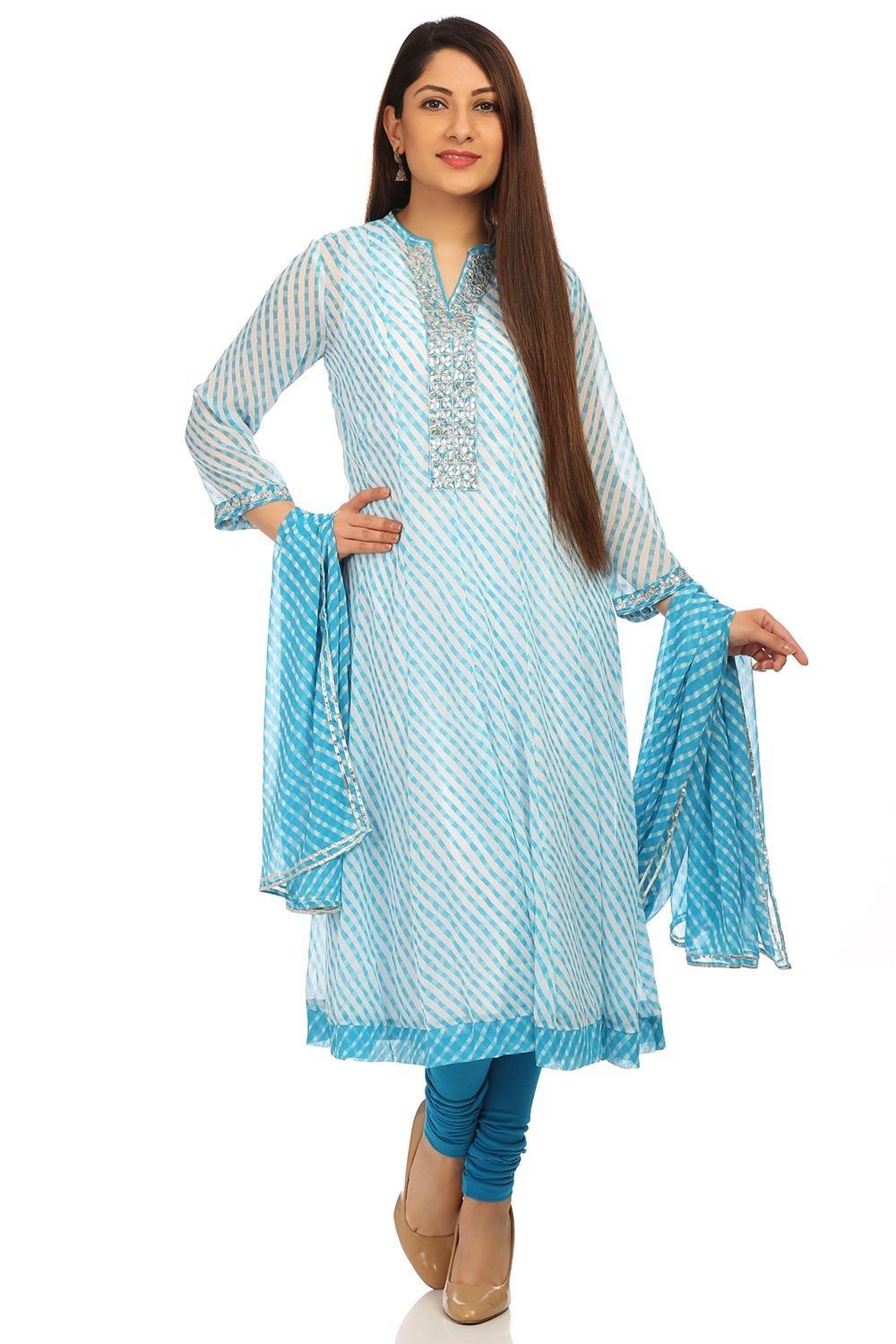 BIBA Women's Sky Blue Kalidar Poly Cotton Crepe & Roto Suit Set Size 38