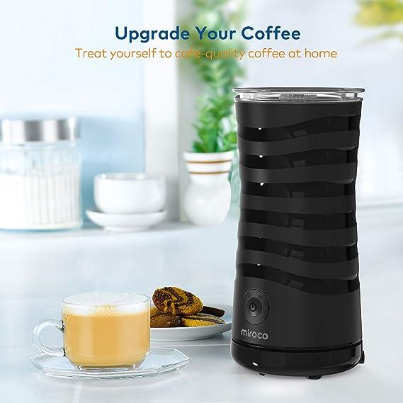 Espumador de leche autom/ático el/éctrico color negro Miroco espuma de leche caliente y fr/ía 4 tipos de ajustes con revestimiento antiadherente control 400 W