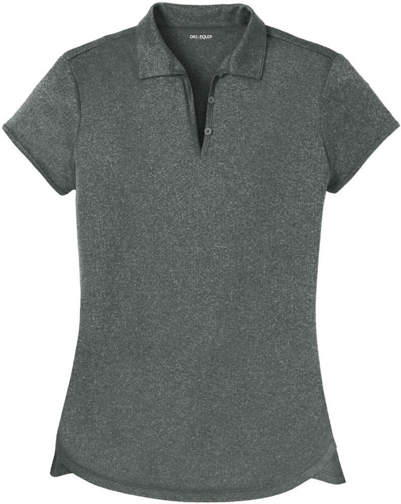 DRI-Equip(tm) Ladies Heathered Moisture Wicking Golf Polo-Charcoal-XS