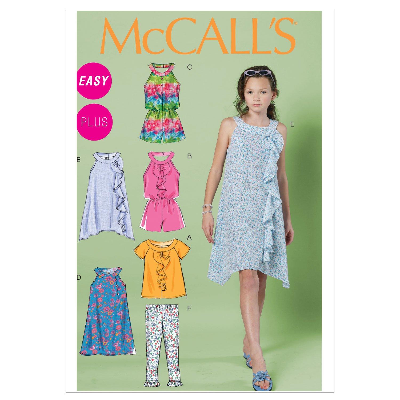 McCalls 6501 - Patrones de costura (blusa para niña, mono corto, vestido, leggings, tallas 7-8-10-12-14/128-152): Amazon.es