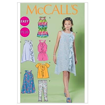 McCalls 6501 - Patrones de costura (blusa para niña, mono corto, vestido,