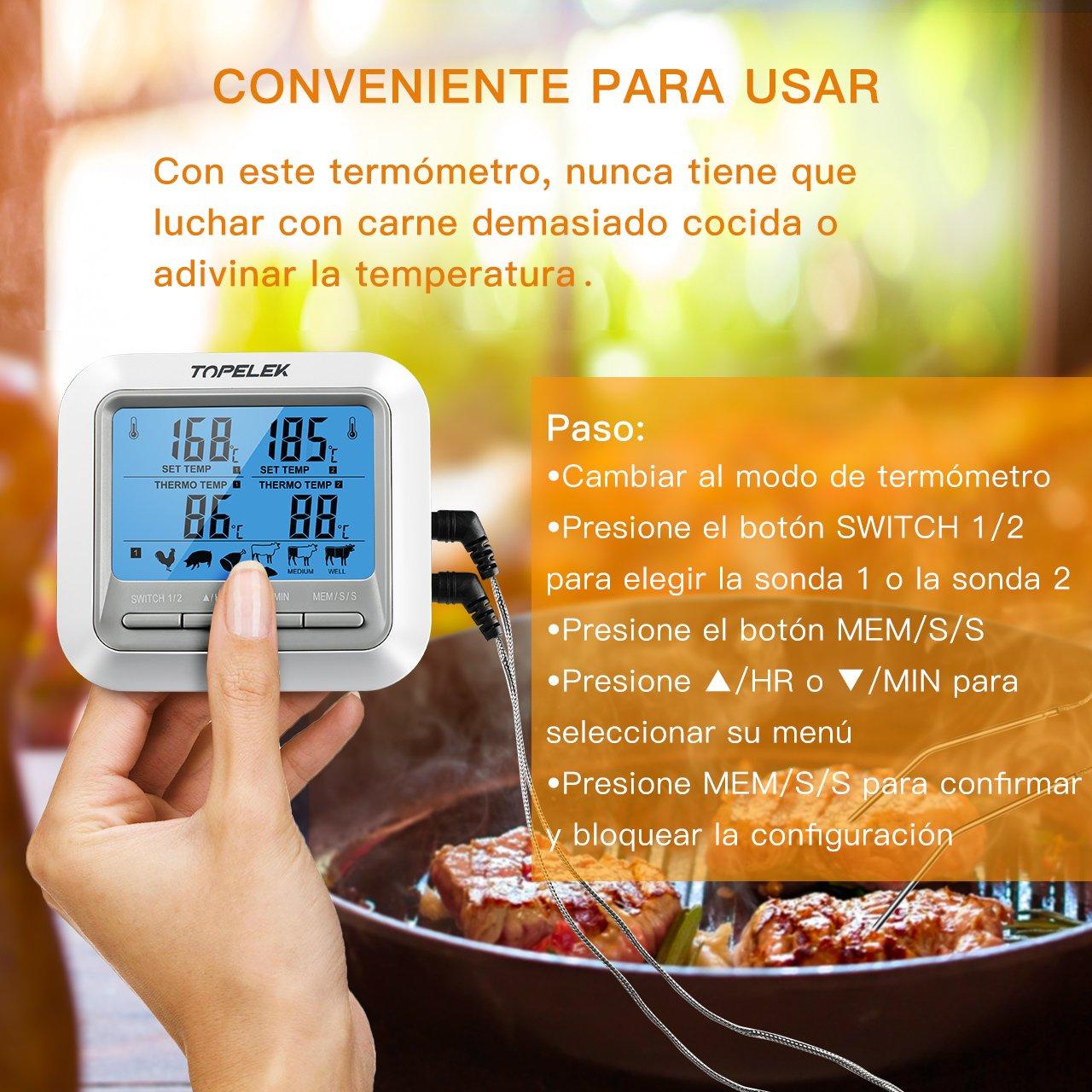 TOPELEK Termómetro Digital de Cocina, Termómetro Horno con Sonda Larga para Alimentación, Carne, Parrilla, Barbacoa, Leche, Caramelo y Baño de Agua, ...