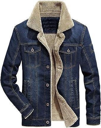 Springrain Mens Slim Detachable Hood Thicken Sherpa-Lining Cotton Jacket Coats
