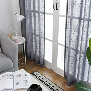 Grey Sheer Curtains for Living Room Linen Textured 84 inch Voile Drapes for Bedroom Kitchen Gray Window Curtain Set 2 Panels