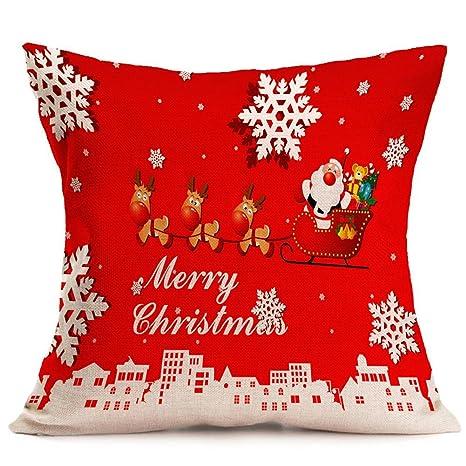 nikgic Navidad rojo cuadrado manta funda de almohada hogar algodón de lino sofá almohada cojín para sofá decorativo