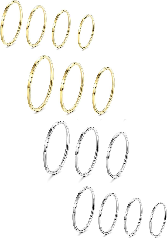 Milacolato 14 Piezas de Acero Inoxidable para Mujer Banda Lisa Nudillos Apilables Midi Anillos Comfort Fit Silver/Gold Tone
