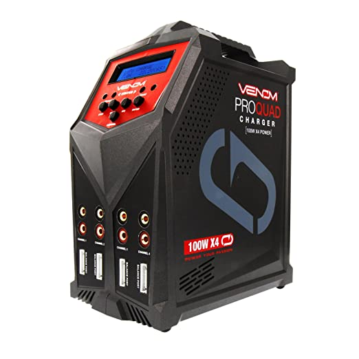 Venom Pro Quad 400 Watt (100W x 4) 7 Amp 4-Port AC/DC Multi-Chemistry LiPo, LiHV, NiMH Battery Balance Charger with Two 5V 2.3A USB Outputs with XT60, ...