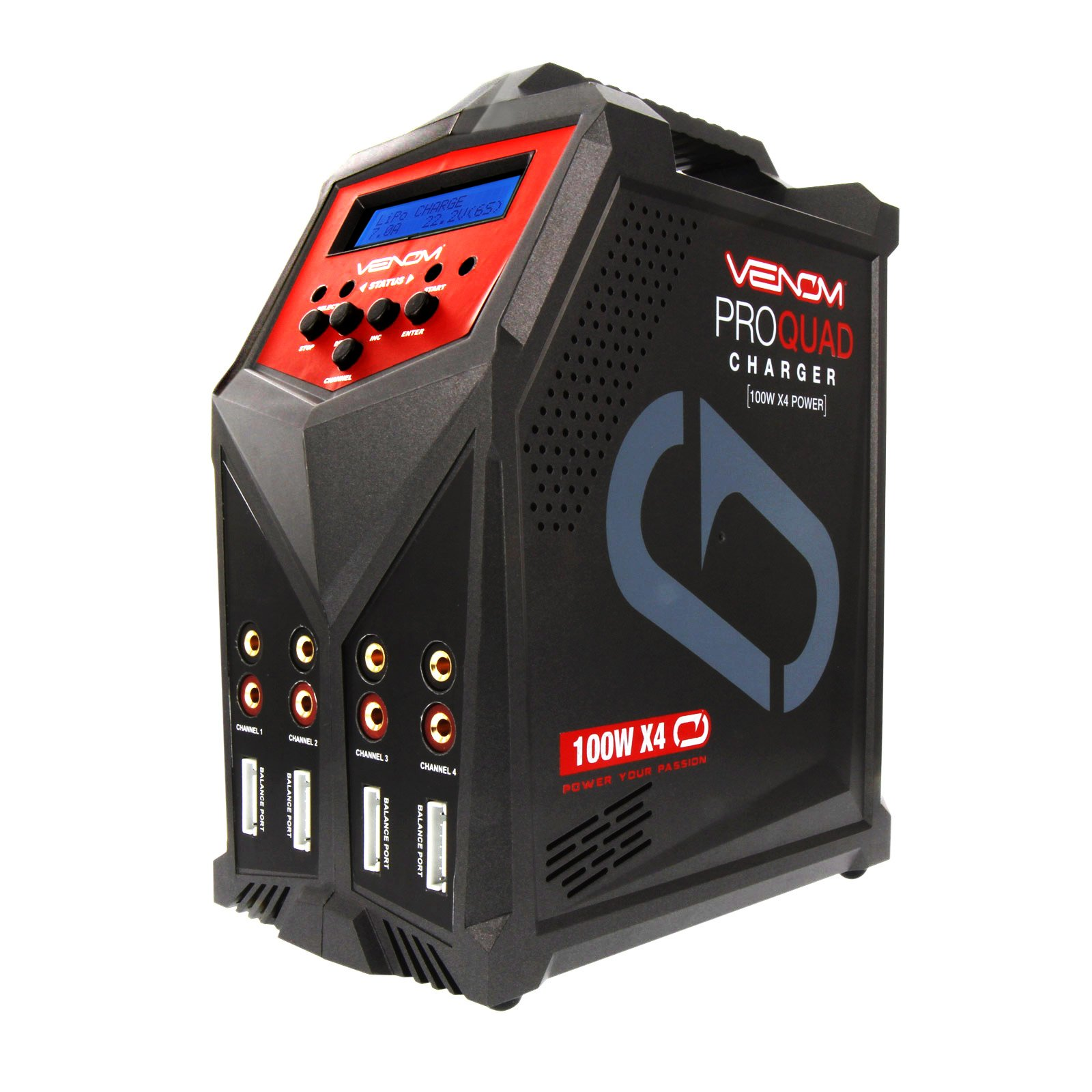 Venom Pro Quad 400 Watt (100W x 4) 7 Amp 4-Port AC/DC Multi-Chemistry LiPo, LiHV, NiMH Battery Balance Charger with Two 5V 2.3A USB Outputs with XT60, Deans, HXT, Tamiya, EC3, JST