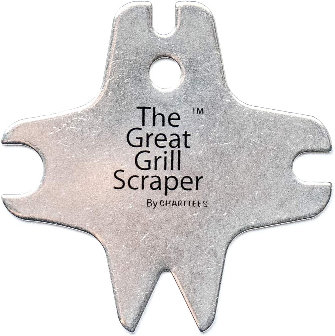 Charitees The Great Grill Scraper was Designed to get The Toughest of Grime Off of Your BBQ Grill grates!!! While not Leaving Behind The Harmful Wire bristles to get into Your Food.