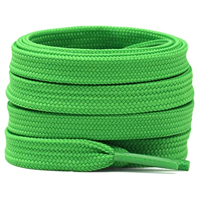 """Lot Of 10 Pairs Fluorescent Green Flat Shoe Laces ~47"""" Athletic"""
