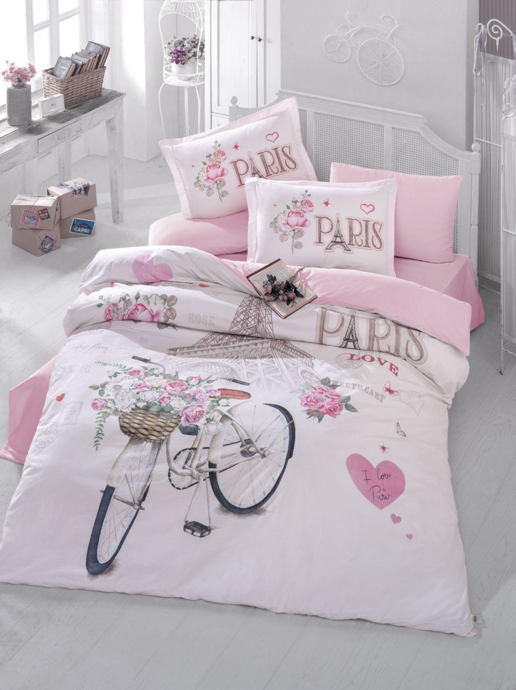 Bekata Paris Love,%100 Cotton Double-Full/Queen Size Quilt/Duvet Cover Set, Eiffel Tower Themed Paris Bedding Linens Reversible, COMFORTER INCLUDED (5 PCS)
