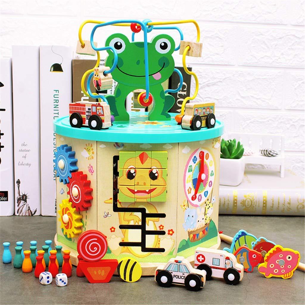 Nesee Beaded Maze, Activity Box Animal Beaded Maze Multi-Function Educational Children's Toys, Circle Bead Skill Improvement Wooden Toys Birthday Gift for Boys & Girls(Ship from US)