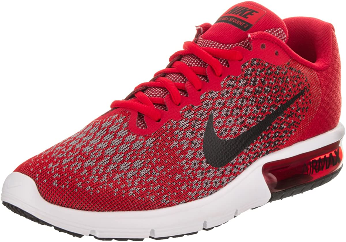 Nike Men's Air Max Sequent 2 Running Shoes (12 D(M) US, University RedBlackCool GreyBlack)