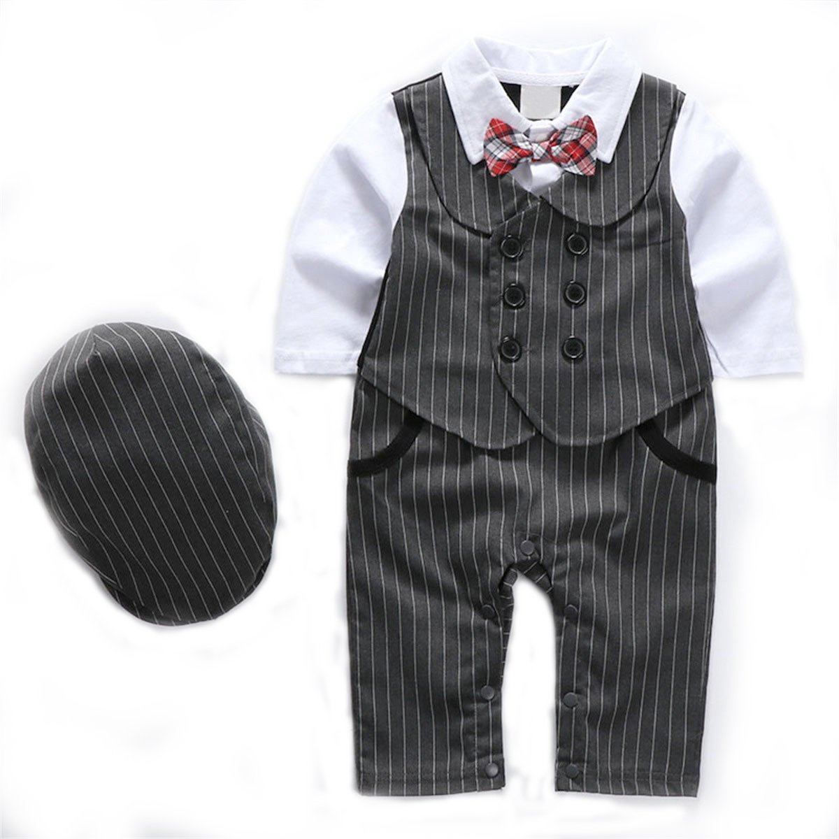 TOOTANN Baby Boy 1Pcs Rompers Clothing With Plaid Cap & Bow Tie