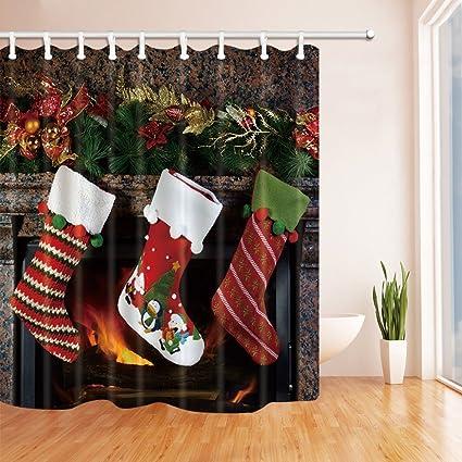 Rrfwq Cortinas de Ducha de Navidad en baño, Calcetines de Navidad en Chimenea Regalo para