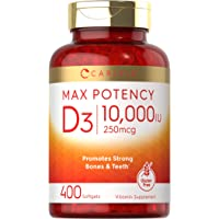 Vitamin D 10000 IU 400 Softgels   Value Size   Max Potency   Promotes Strong Bones and Teeth   Non-GMO, Gluten Free…