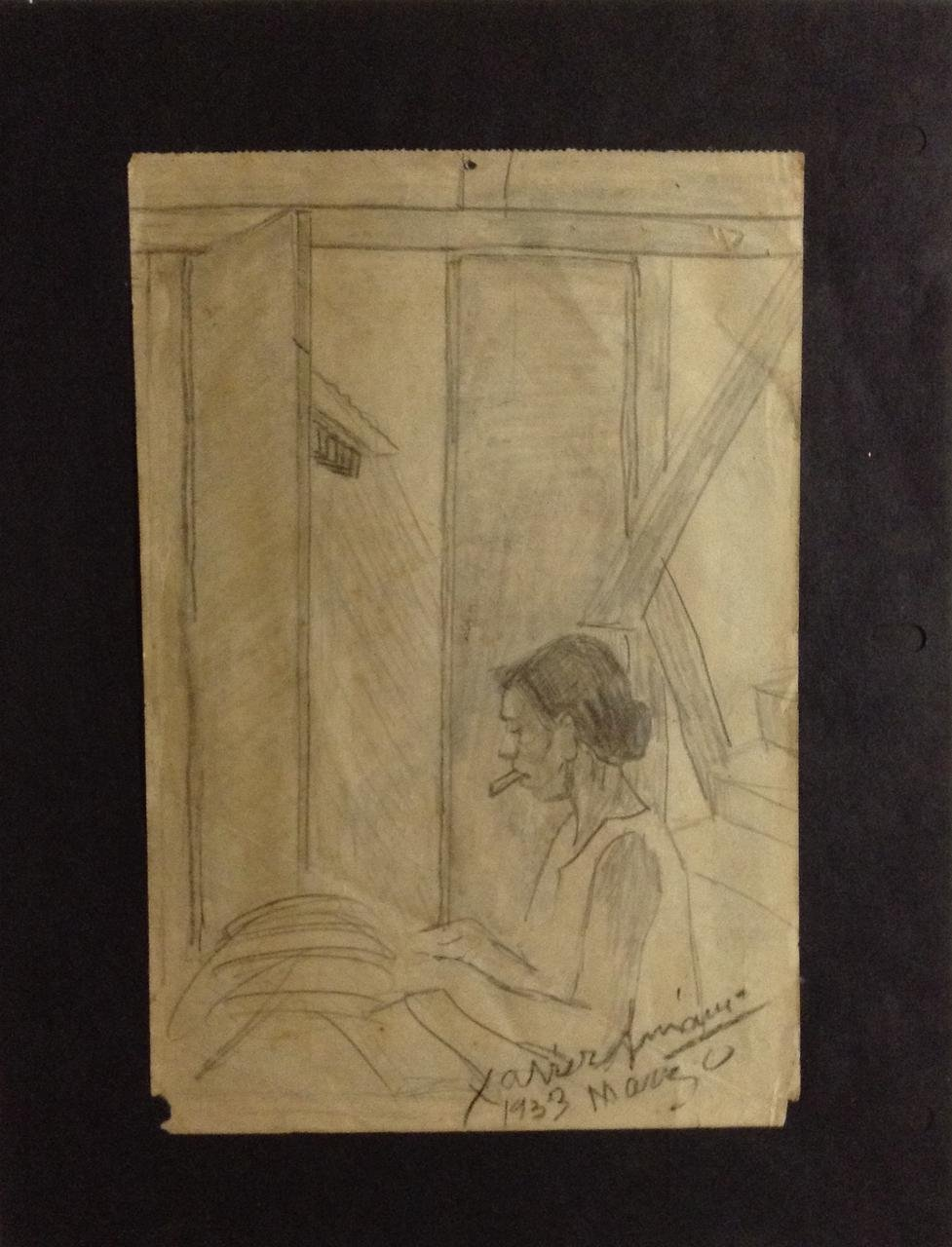 Vintage Original Haitian Drawing The Sewer 8.5'' x 6'' on Paper by