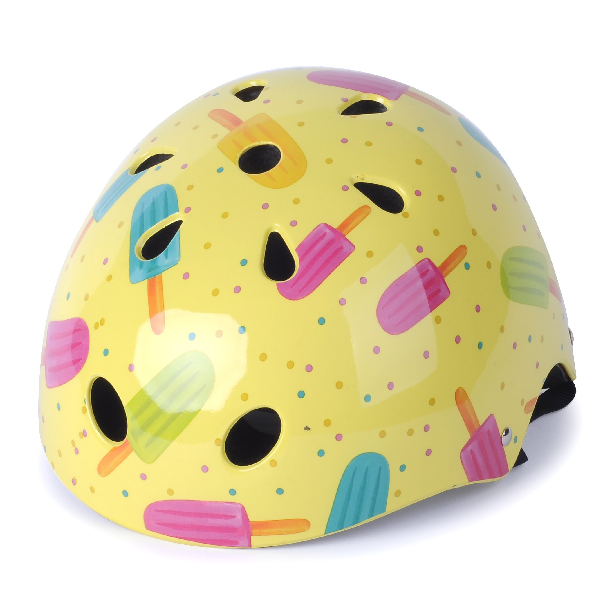 WIN.MAX WinMax Multi-sport Skateboarding Skating & Cycling Safety Bike Helmet for Kids (Yellow, with Pattern, M)
