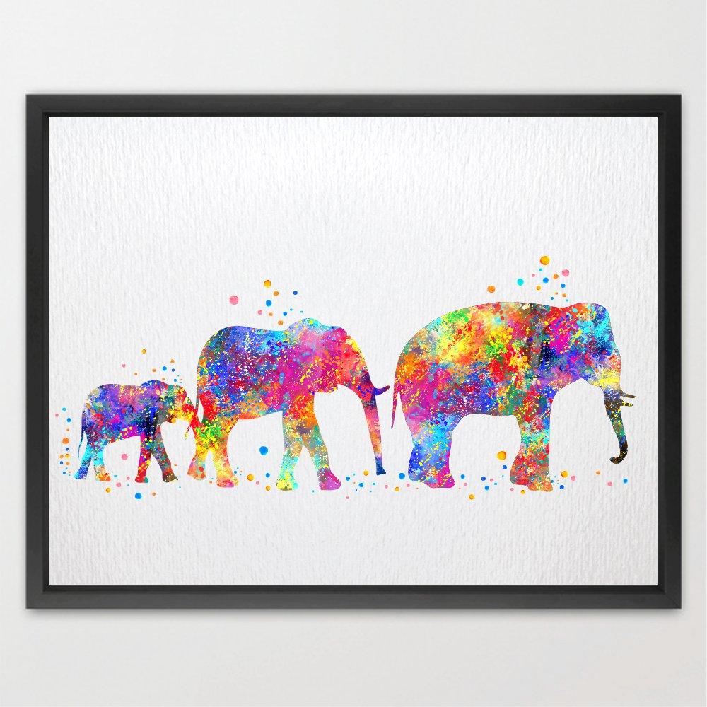 Dignovel Studios 8X10 Elephant Family Watercolor illustration Art Print Wall Art Poster Home Decor Wall Hanging Birthday Gift Motivational Inspirational Art N003