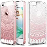 iPhone SE 5S Case, ESR Henna Mandala Floral Designer Hard Shell Case [Clear Back Cover, Slim Fit, TPU Border] Flowers Printed Thin Cute Design Vintage Retro Style for Girly Girls Women Apple iPhone SE 5S 5 (Pink Manjusaka)