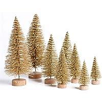 Lomire 12 Stück Mini künstlicher Weihnachtsbaum Tannenbaum Christbaum mit Holz Basis, Weihnachten Tabletop Bäume DIY Handwerk Ornament für Home Party Dekoration