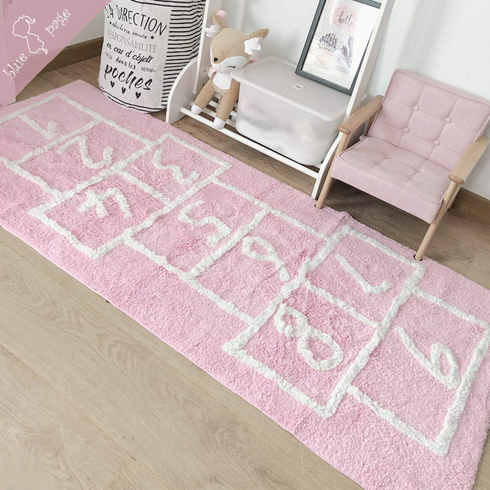 Hop & Count Hopscotch Rug - Play Space & Room Decor, Pink Durable Woven Floor Rug, Children's Garden Collection Educational Learning Hopscotch Design, 71 in x 30 in