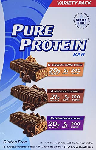 Pure Protein bar 3 Flavors Variety Pack Pure Protein 20g 18 Bars of 1.76 Oz
