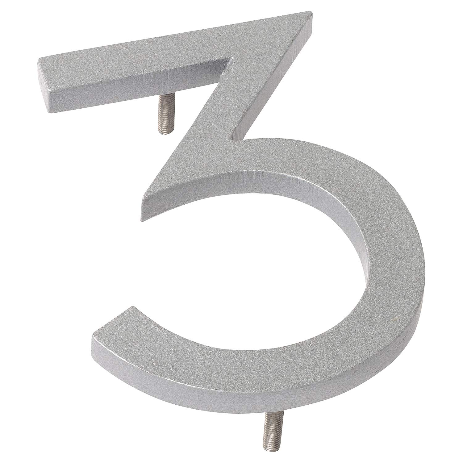 Montague Metal Products MHN-08-3-F-SR1 Floating House Number, 8'' x 6'' x 0.375'', Silver