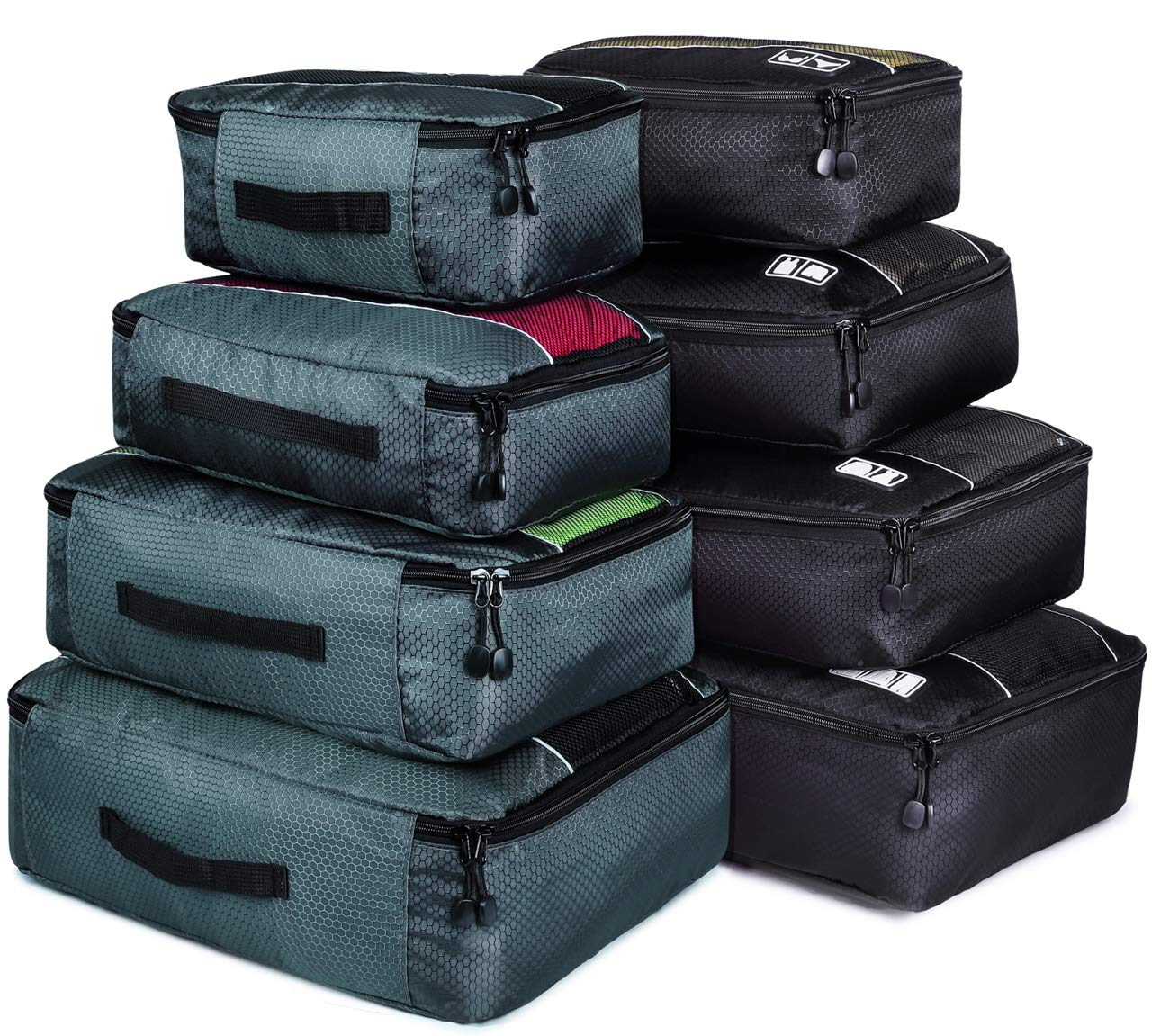 8 Set Packing Cubes, Travel Luggage Bags Organizers Mixed Color Set(Grey/Black)