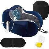 Almohada de Viaje Cervical Viscolástica Ortopédica - Almohada de Cuello,Almohadas de Acampada,Soporte de Cuello,con…