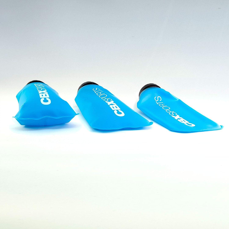 Compacte et Facile /à Tenir et /à Remplir Trail Course /à Pied L/ég/ère Flasque Souple Pas de Clapotis CBX GEAR Bouteille Gourde Pliable 2X 500ml Bleu de Soft Flask pour Running