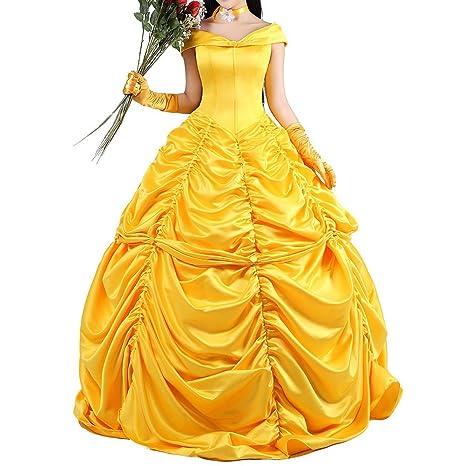 Vestido de adultos de la princesa Bella de la Bella y la Bestia color amarillo para