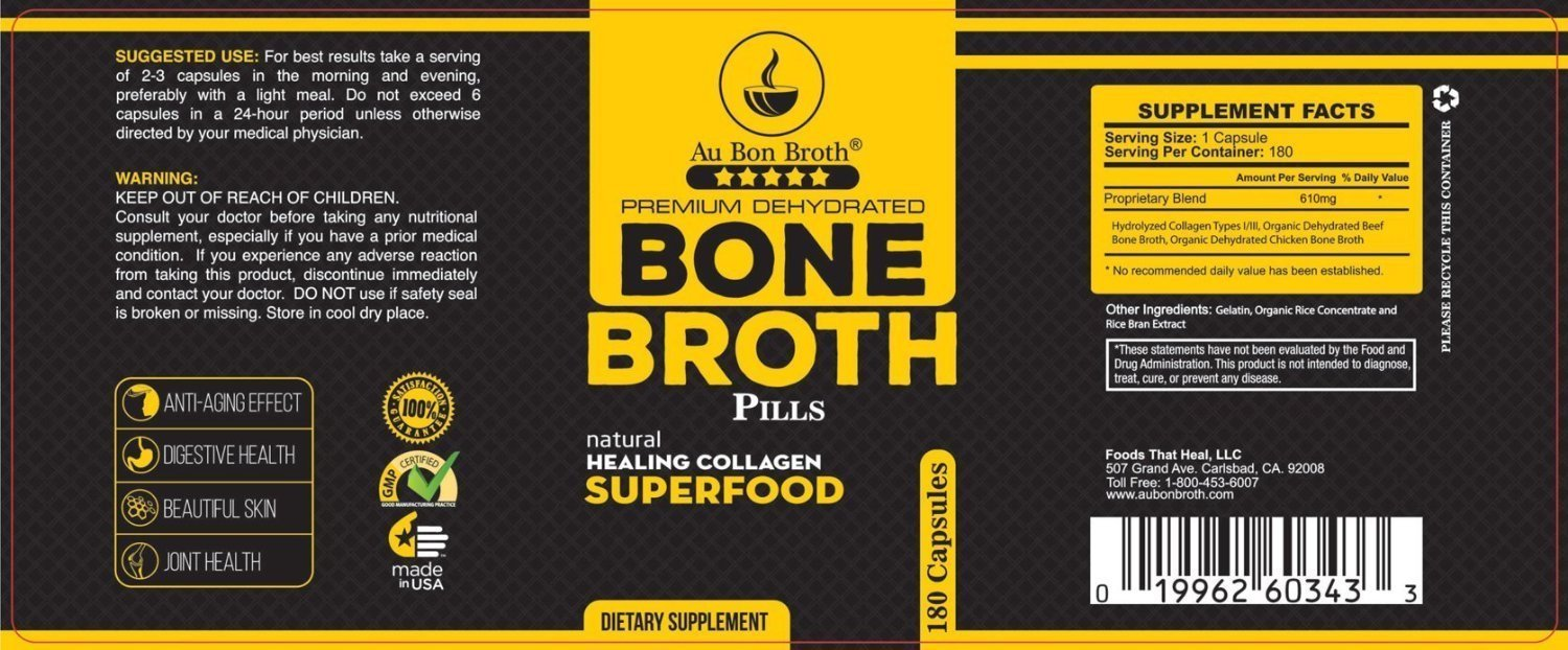 Bone Broth Protein Powder Superfood Capsules with Keychain - Organic Grassfed Beef + Chicken Powder Blend Pills - Non-GMO - Collagen (180 Capsules Total) by Au Bon Broth
