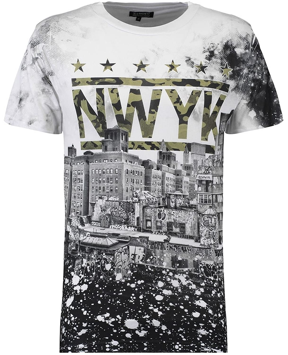Twisted Soul Mens Camouflage Nwyk Sky Print Short Sleeve Round Neck T-Shirt Tee