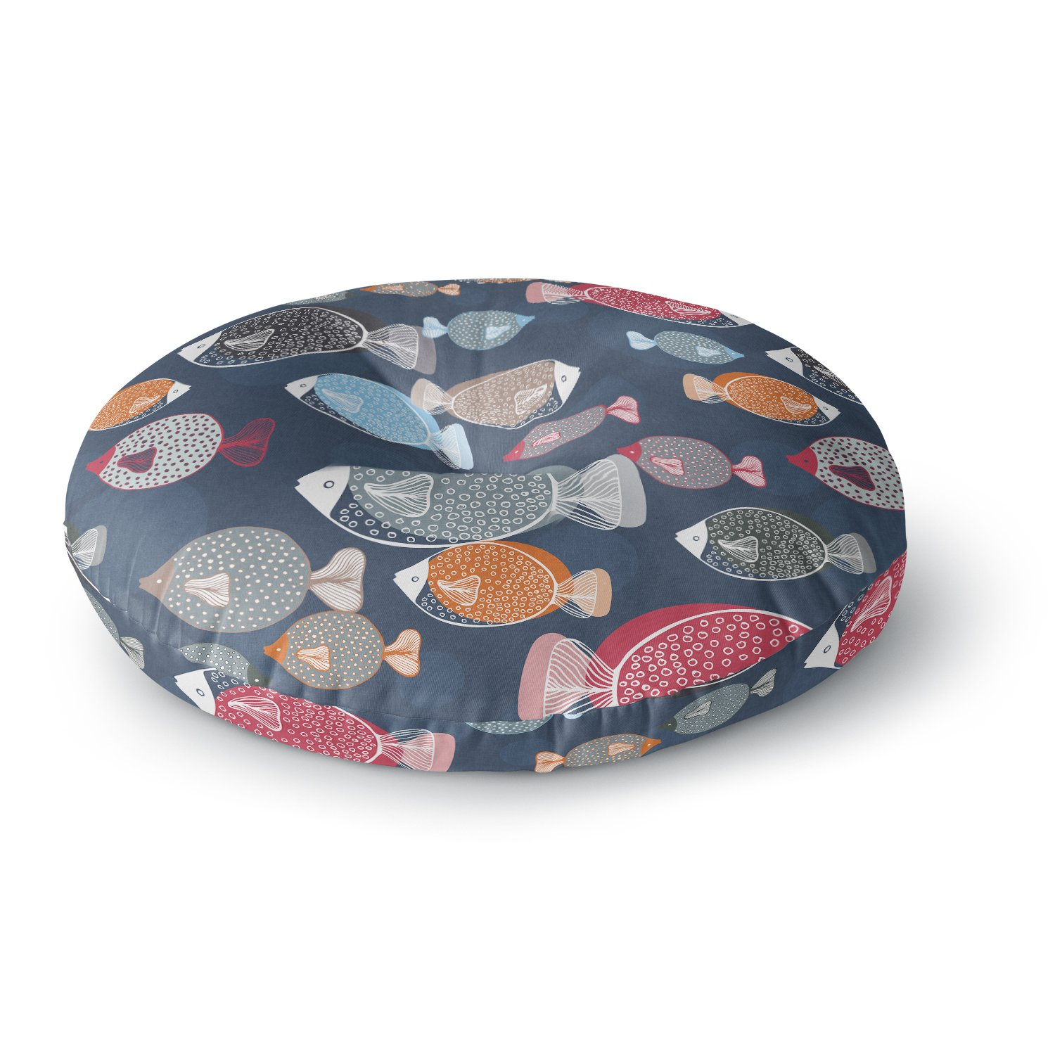 KESS InHouse Melissa Armstrong Swim School Blue Red Round Floor Pillow