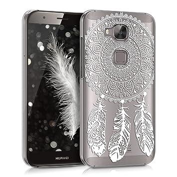 kwmobile Funda para Huawei G8 / GX8 - Carcasa de plástico para móvil - Protector Trasero en Blanco/Transparente