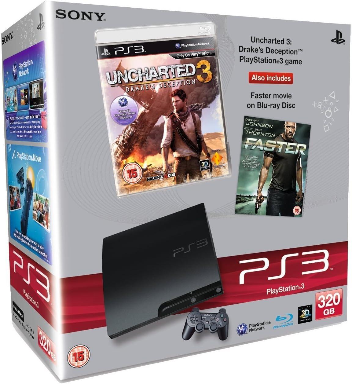 Sony PlayStation 3 Consola 320 GB Slim Model con Uncharted 3 + Faster Blu-ray Movie Bundle [Importación inglesa]: Amazon.es: Videojuegos