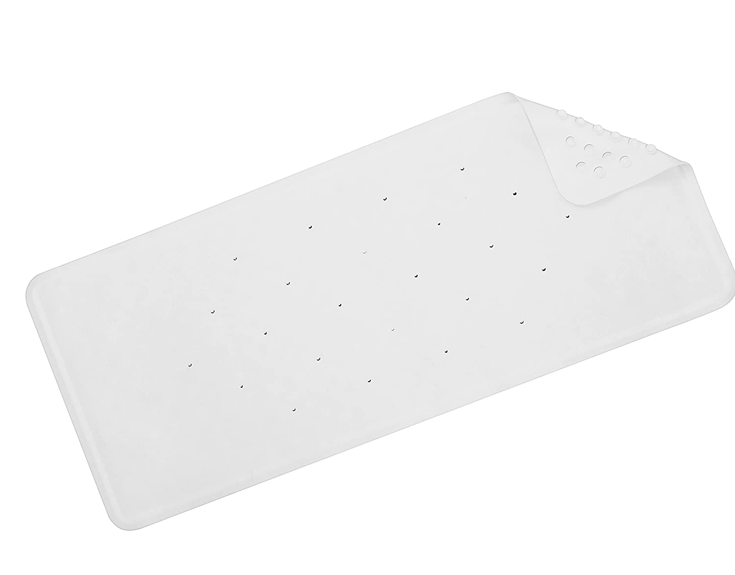 Croydex Hygiene 'N' Clean Anti-Bacterial Slip-Resistant Medium Natural Rubber Suction Bath Mat, 34 x 74 cm, White AG181422