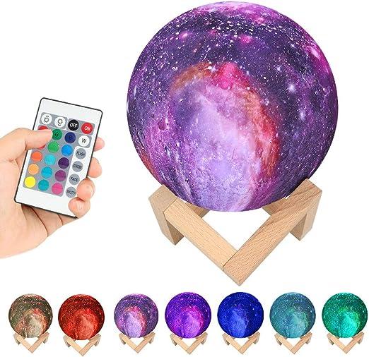 Recargable 3d impresora Galaxy lámpara Moon lámpara 7 colores ...