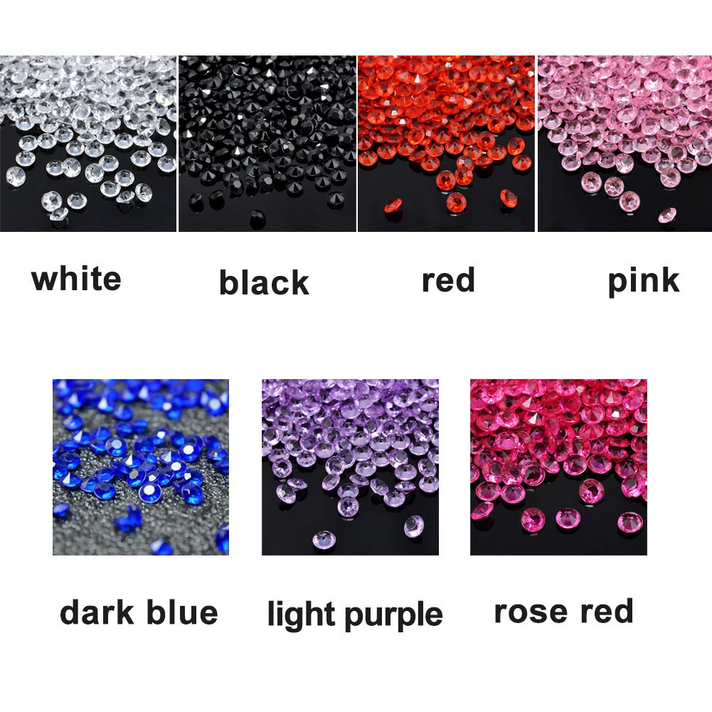 YOTHG 1000PCS 4.5mm Ice Rock Crystals Vase Fillers DIY Wedding Party Festive Decorations Transparent Acrylic Crystals(2 Bags (2000pcs),Black) by YOTHG (Image #2)