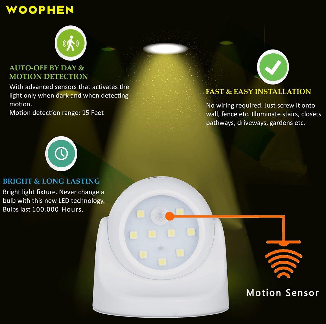 Woophen - Luz LED para porche con sensor de movimiento completo, para interiores y exteriores, encendido/apagado automático, funciona con pilas, ...