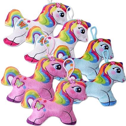 TE-Trend 6 Piezas Felpa Unicornio Arcoiris Colgantes ...