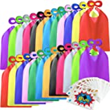 Kidsfere Superhero Capes and Masks for Kids Boys Girls 24 sets with Stickers Decoration for Super hero themed Birthday Party