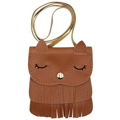 Kids Cute Cat Tassel Bag Girls Mini Satchel PU Leather Crossbody Bag Coin Pouse