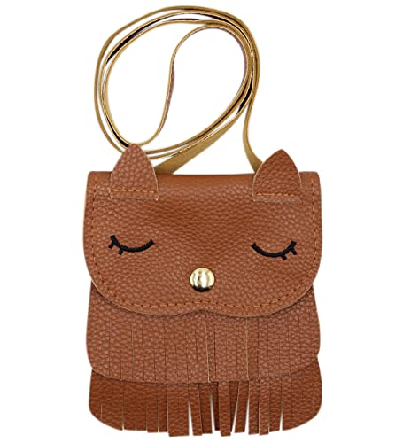 4223f2aa14145 Kids Cute Cat Tassel Bag Girls Mini Satchel PU Leather Crossbody Bag Coin  Pouse(Brown