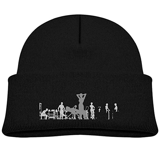 Amazon.com  Kids Knitted Beanies Hat Gym Fitness Winter Hat Knitted Skull  Cap for Boys Girls Pink  Clothing d4ee0f05672